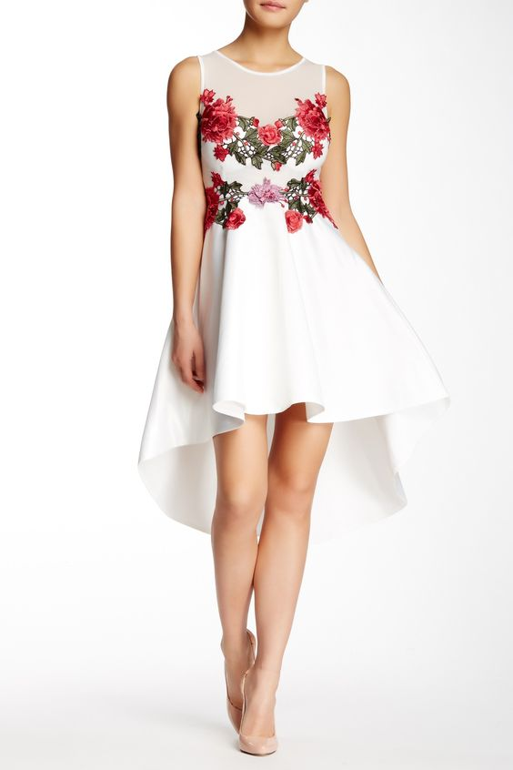Floral Applique Hi-Lo Cocktail Dress by Issue New York on ...