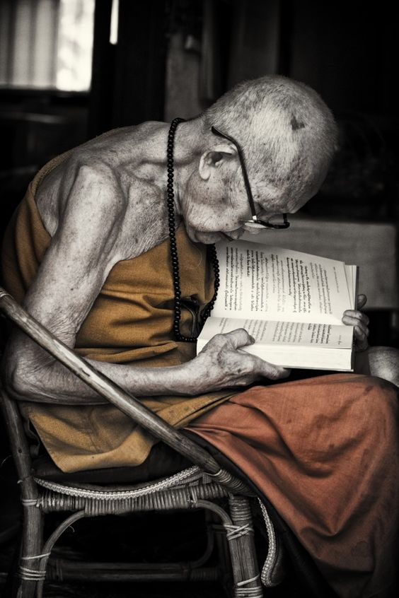 The pleasure of #reading is #timeless www.digiwriting.com Old Monk Reading Book, Laos