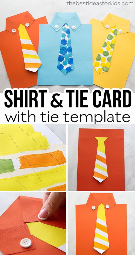 Grab the free tie template to make this shirt card for Father's Day! Free shirt cards template. Make this shirt card for Fathers Day. An Easy Fathers Day Craft for Kids! #bestideasforkids