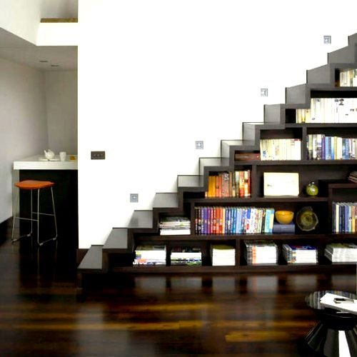 stair storage: Bookshelf Stairs, Basement Stairs, Book Stairs, Storage Stairs, Basement Ideas, Basement Storage, Storage Ideas, Bookcase Stairs
