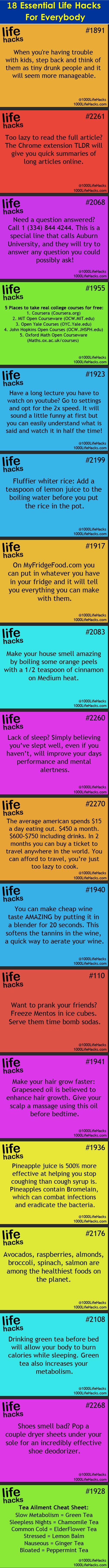 18 essential #lifehacks for everybody.