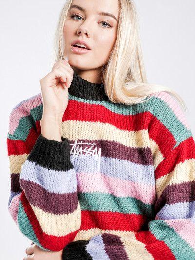 Stussy Gardner Knit Sweat in Rainbow Stripe