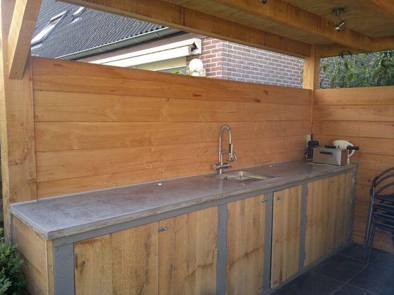 Steigerhouten Keuken Met Betonnen Blad : Solidus buiten keuken grijs betonnen blad