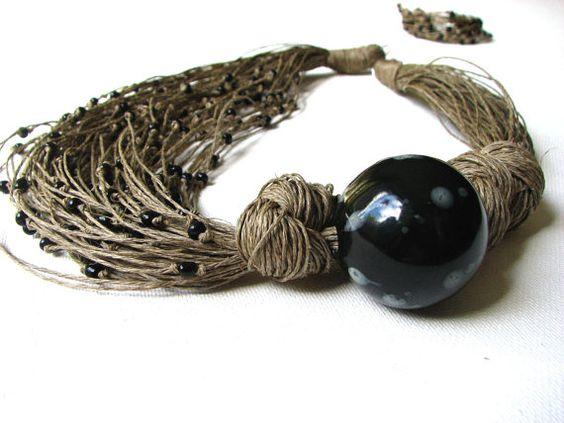 Ceramic Black Roses  linen necklace by GreyHeartOfStone on Etsy, $34.00