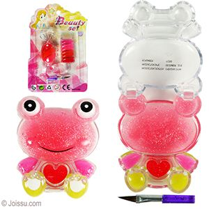 ANIMAL SPARKLY LIP GLOSS. These adorable lip pots have multiple colors of glittery lip gloss and a brush applicator. Assorted colors and styles. Each blister carded.  Size 2-3 Inches, packaging 7 X 4.5 Inches