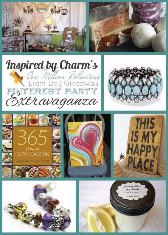 Eight Day Pinterest Party giveaway via Inspired by Charm - fabulous prizes including a cookbook, artwork, bath and body products, troll beads, candles, jewelry, hand painted signs. #IBCOMFEDGPPE  www.inspiredbycha...