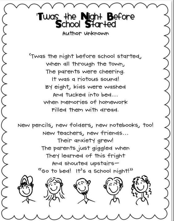 Night before school poem