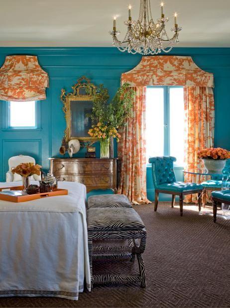 Orange Curtains With Blue Walls 462 619 Pixels Home Decor Pinterest Colors