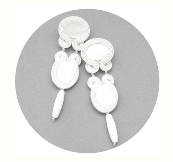 White long studs embroidered wedding earrings for by MANJApl, $43.00