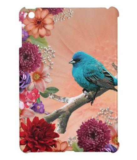 Bird on Branch & Flower Garden iPad Mini Case http://www.zazzle.com/bird_on_branch_flower_garden_ipad_mini_case-256336114856927624?rf=238442545159923177 girly, bird, birds, branch, floral, flower, flowers, garden, rose, roses, leaf, leaves