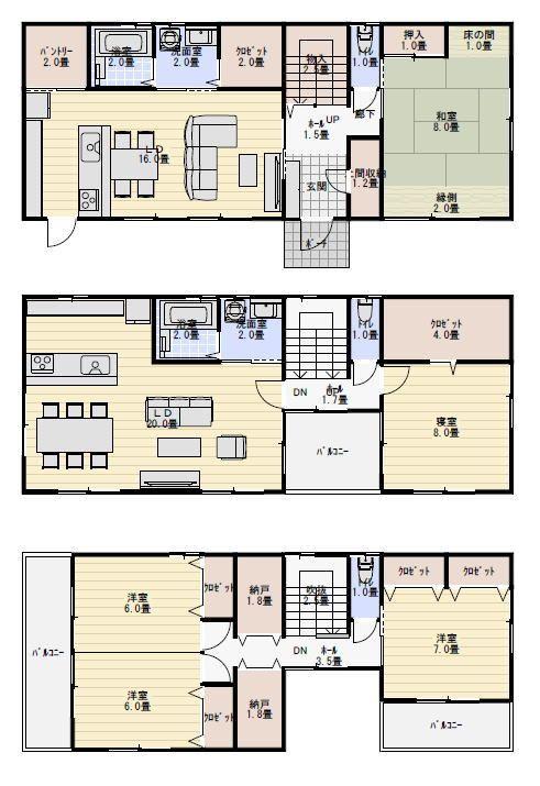 3階建て二世帯住宅の間取り 三階建て 間取り 三階建て 間取り