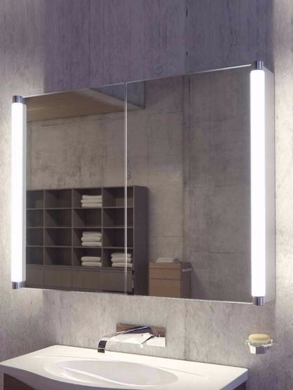 Saber Two Door Led Bathroom Demister Cabinet Illuminated Bathroom Cabinets Bathroom Mirror Cabinet Led Mirror Bathroom