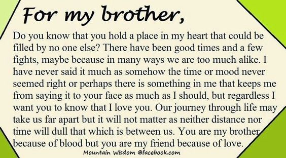 I love my little brother(and older) more than he will ever know. I'm so glad my baby girl has a little brother too it's the best thing in the world