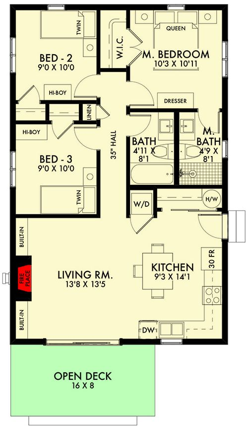 Plan 67776mg Tiny One Bedroom Home Plan Cottage Style House Plans Floor Plans Ranch Modern Style House Plans Yellow house floor plan