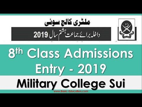 8th Class Admissions Open Military College Sui Balochistan Join