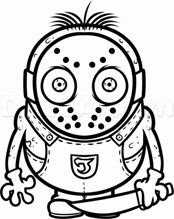 how to draw a jason voorhees minion step 11 | SVG Files ...