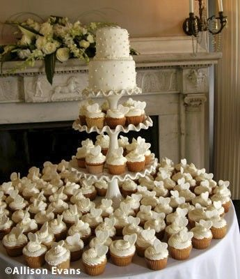 Another type of Wedding Cake and Cupcakes- So Sophisticated!! Like Cupcakes better than Sheetcakes..: