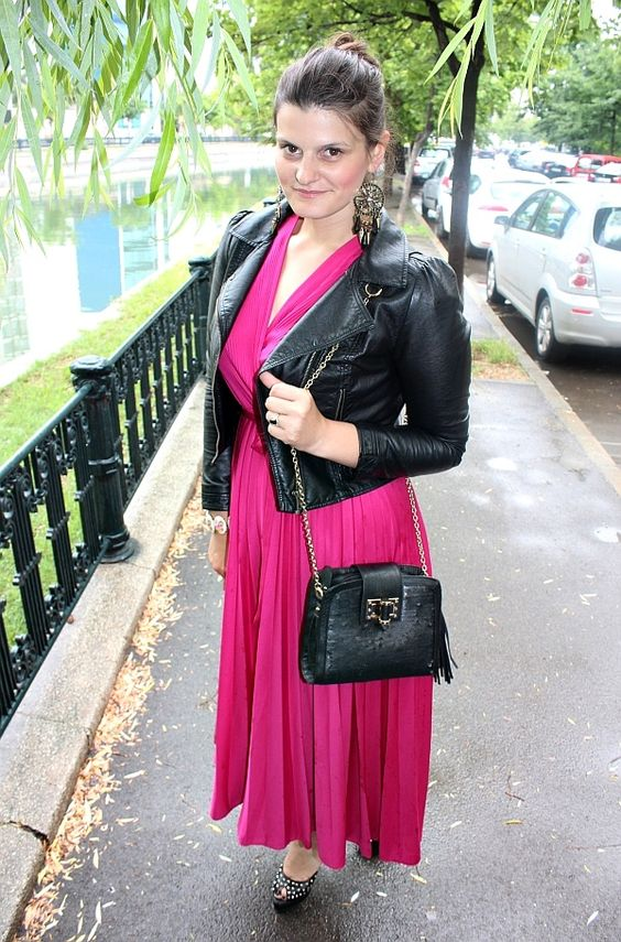 #hotpink #pleated #dress #leather #jacket #studded #pumps #sequined #bag #chandelier #spiked #earrings