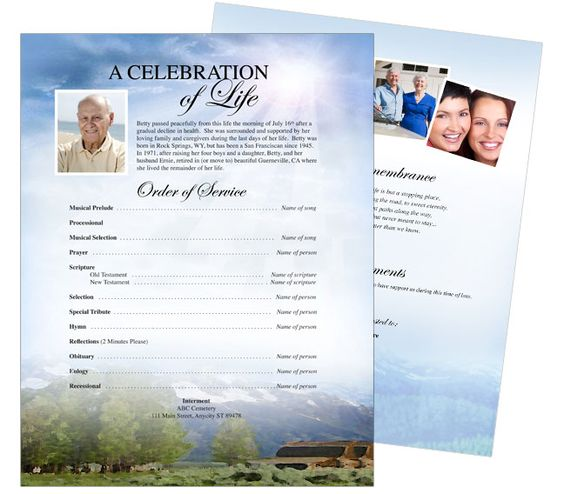 Funeral Flyer Design: Outdoor theme One Page Funeral Flyers Templates