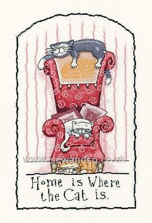 Buy Home is Where the Cat Is Cross Stitch Kit Online at www.sewandso.co.uk