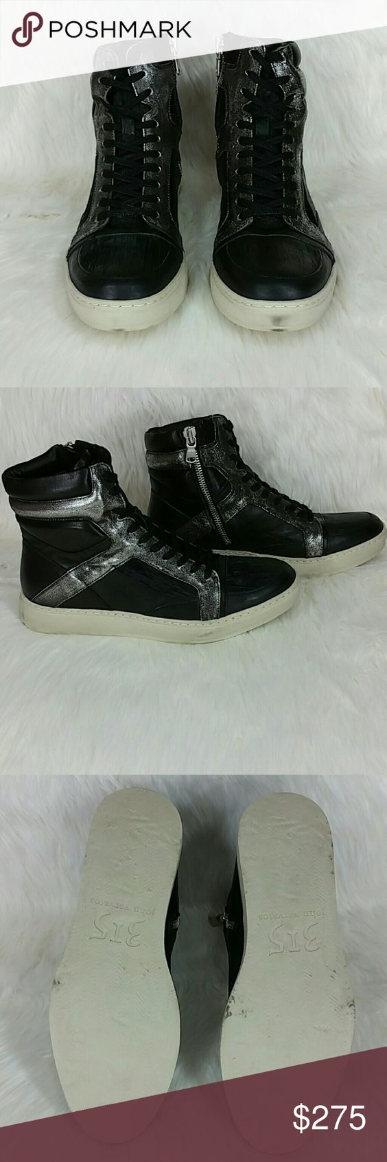 """JOHN VARVATOS Mac leather paneled hi top sneakers SAVE 60%  These striking leather high tops from John Varvatos Collection feature a zip closure and metallic panels for modern sneakers with a rock star edge.   Made in Italy.  Approximately 1.5"""" midsole.  Paneled leather upper with metallic leather sections.   Rounded toe, padded tongue, padded cuff, exposed silvertone zipper, black flat laces.   New with box and dust bag. Never worn.  Can provide more pictures and info upon request.  Make an…"""