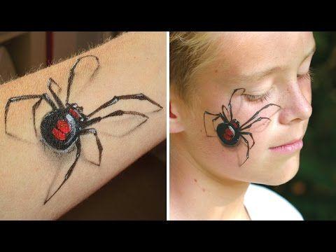 Maquillage araign e veuve noire en 3d bras et visage tutoriel de maquillage halloween - Maquillage araignee visage ...