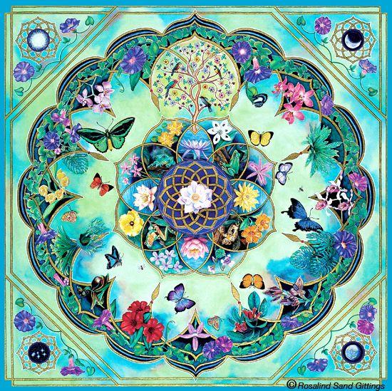 Morning Glory. Handpainted mandala by Rosalind Gittings