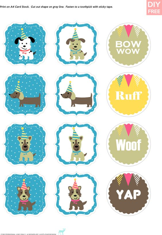 Maya's Doggy Party Blue So much fun to create. Download to your hearts content. - Download Doggy Party Cake Topper - Download Doggy Party Cupcake Topper1 - Download Doggy Party Cupcake Topper2 -...