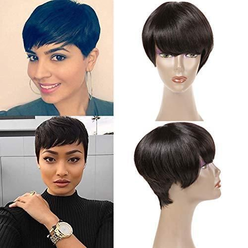 Short Pixie Wigs For Black Women Peruvian Straight Short Hair Wigs Human Hair Wigs Black Short Wig Hairstyles Short Pixie Wigs Short Hair Wigs
