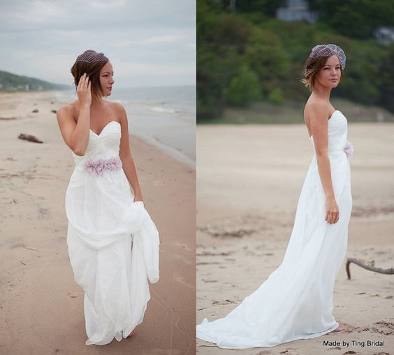 Flow-Perfect Beach Wedding Dress-26 colors made to order-Deep sweetheart A-line chiffon summer dress
