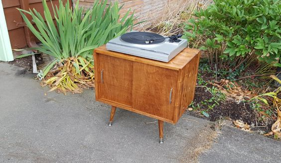 Mid Century Inspired Record Storage Cabinet by OrWaDesigns on Etsy