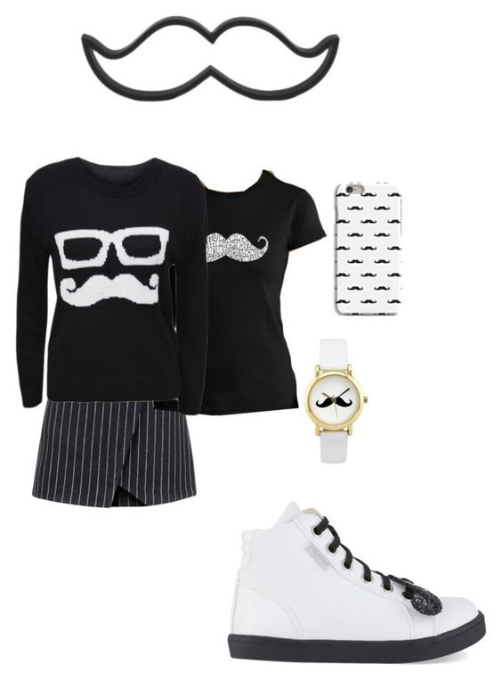 """""""monochrome Moustache"""" by izzy-clothes on Polyvore featuring New Look, Los Angeles Pop Art, WearAll and step2wo"""