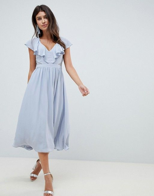 Asos Asos Design Lace Insert Midi Dress With Ruffle Bodice Spring Cocktail Dress Pretty Dresses Maternity Dresses Spring