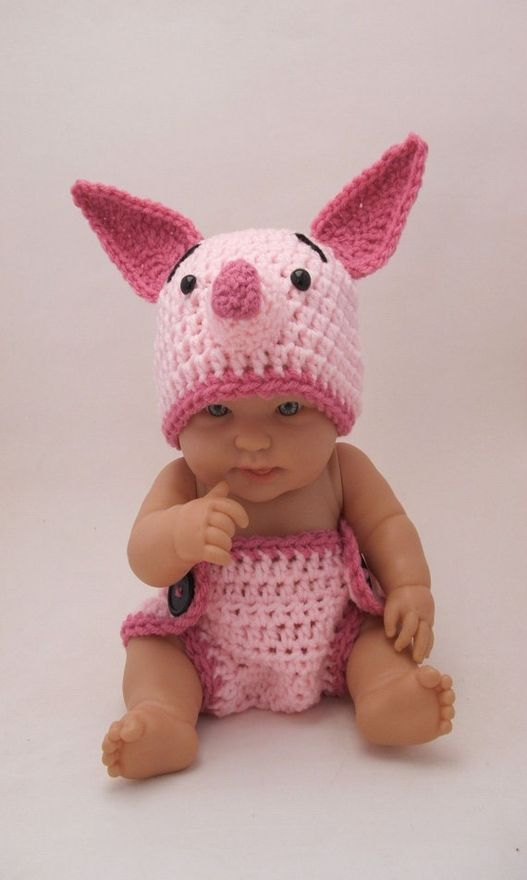 Too cute!!  Knitted Winnie the Pooh Piglet Hat & Diaper Cover set for a baby!  by KreativeKroshay (etsy) baby-ideas-