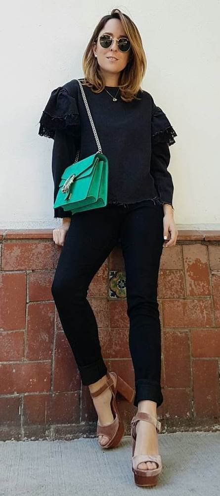 black on black + green bag + heels