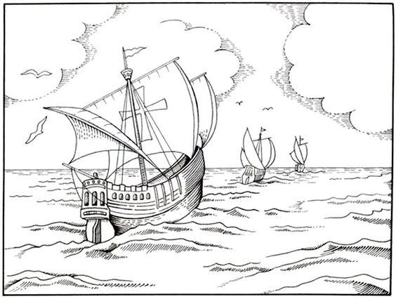 Dibujo de las tres carabelas de Cristobal Colón para ...