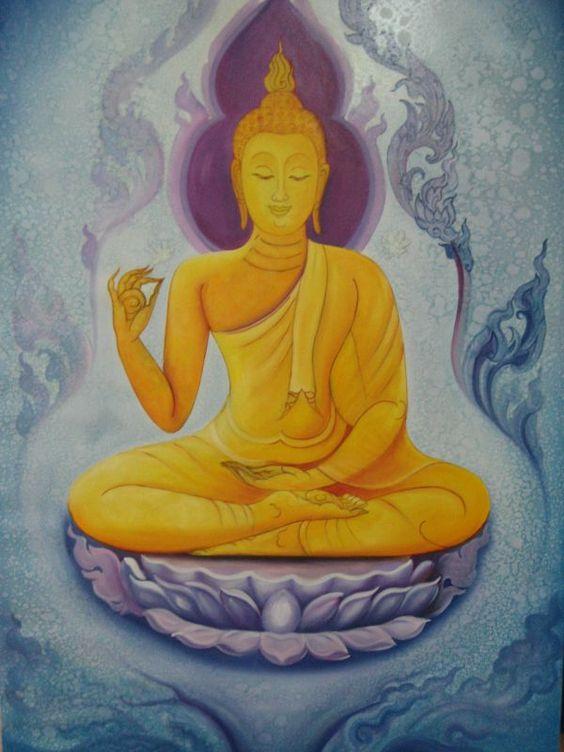 Buddha Painting - Gold Body Sitting on Lotus: