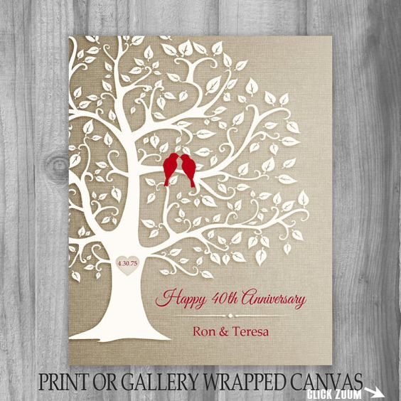 Golden Wedding Anniversary Gift Ideas For Parents : 40th Anniversary Gift Golden Anniversary Print Gift Personalized Print ...