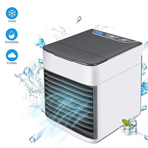 Gttbs Upgrade Usb Mini Portable Cooling Air Conditioner Desktop Mini Cooler Night Light 3 In 1 Mini Mobile Personal Space Humidifier Purifier Desktop Cooling Portable Air Conditioning Portable Cooler Portable Air Cooler