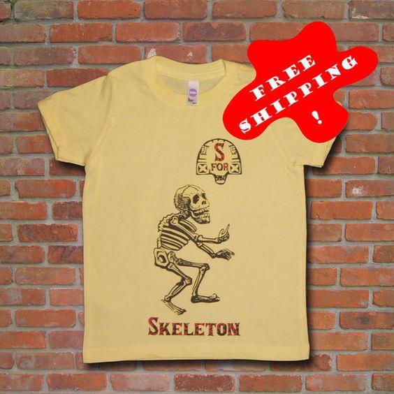 S for Skeleton English Alphabet Calavera Toddler Kids Spooky Season T-shirt