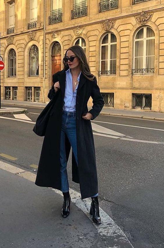 Long black coat + button down shirt + black ankle boots #streetstyle #womensfashion