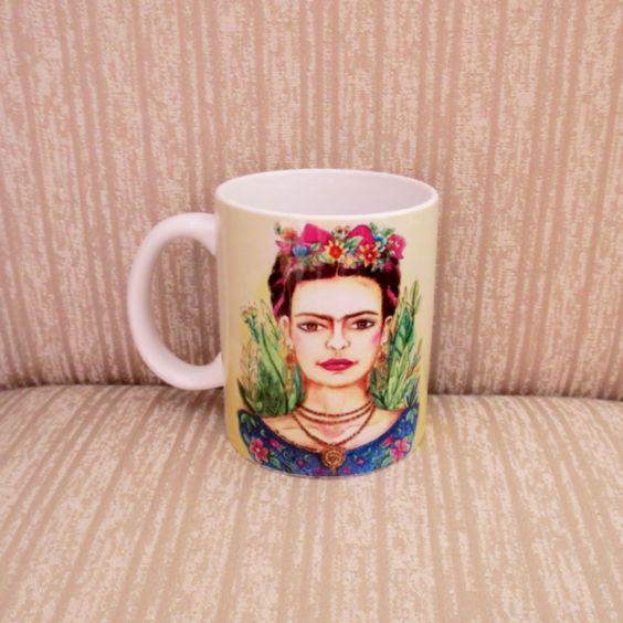 Caneca em porcelana imagem Frida