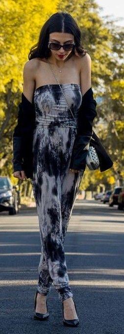 Monochrome Tie Dye off The Shoulder Playsuit Outfit Idea