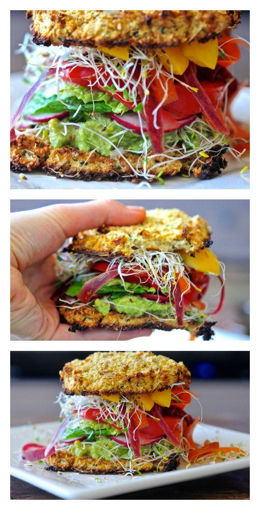 This recipe for Cauliflower Bread Veggie Sandwich with Avocado Spread ...