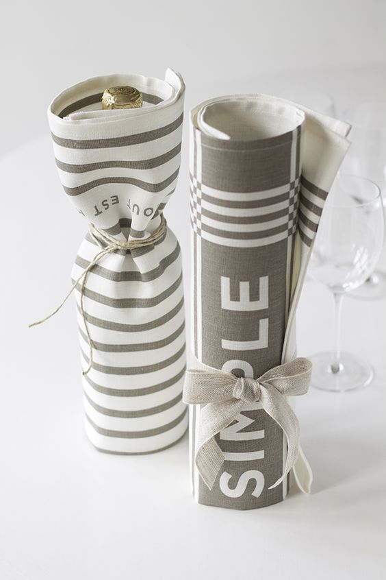 Game prize idea - olive oil wrapped in tea towels (gift idea)