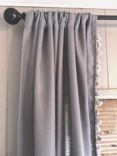 Grey Curtain With Grey Tassel Trim Shtory