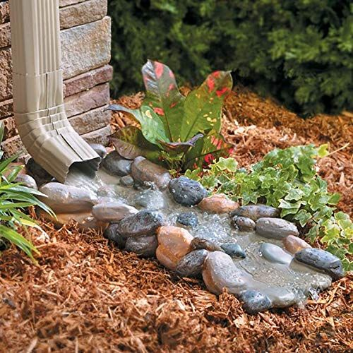 Decorative Downspout Splash Block Rocky Stream Gutters Downspout Extension Landscaping With Rocks Splash Blocks Decorative Downspouts