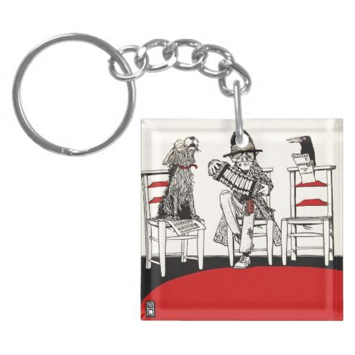 A Concert Party with Dog Crow Old Man Accordion Square Acrylic Keychain #art #music #iconographique #accordion