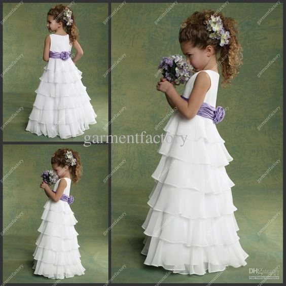 Wholesale Girl Dress - Buy Cheap Flower Girl Dresses Chiffon White And Purple Many Layers Floor-length Kids Evening Gowns, $57.81 | DHgate