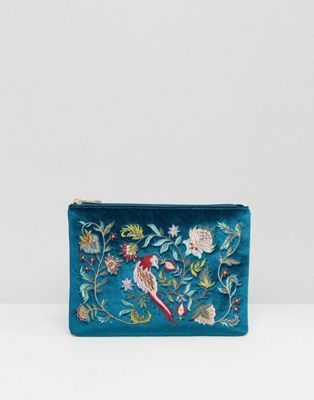 Glamorous Velvet Zip Top Clutch With Embroidery in Teal: